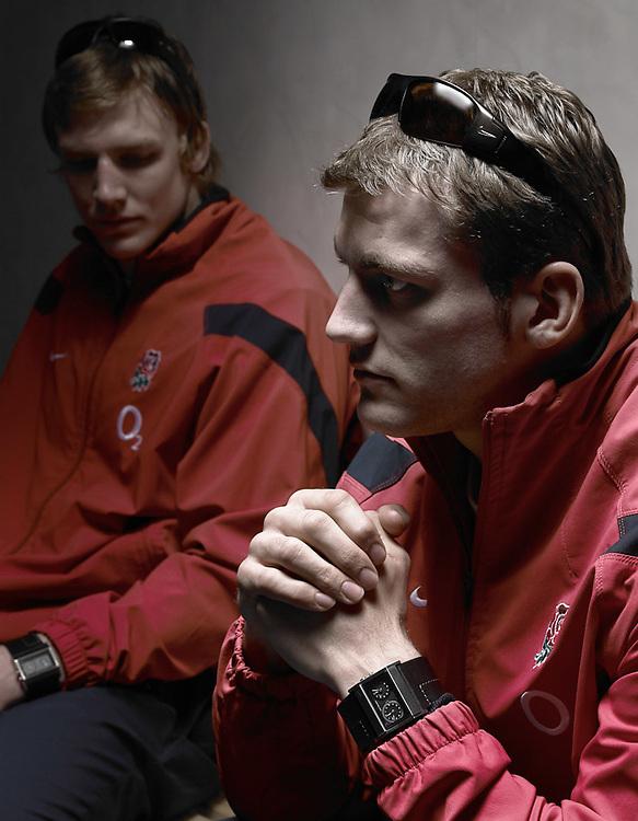 Mark Cueto and Magnus Lund, Wearing England training kit