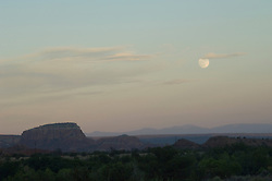 view of Abiquiu,NM during a full moon