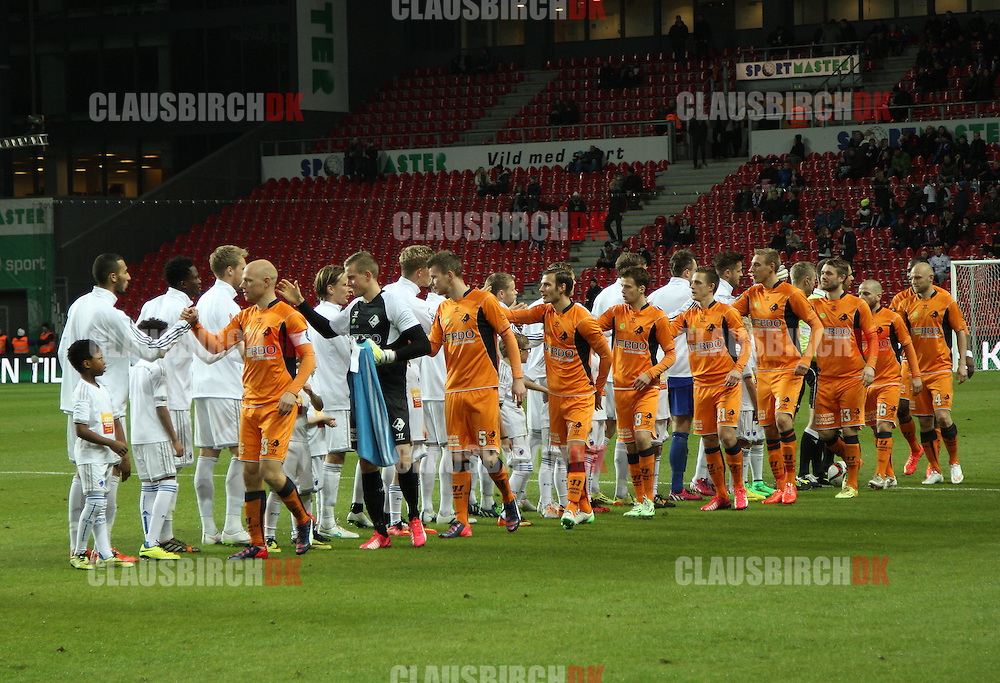 The players line up prior to the Danish DBU Pokalen Cup match between FC København and Randers FC at Telia Parken on March 5, 2015 in Copenhagen, Denmark. (Photo by Claus Birch)
