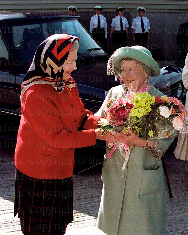 The Queen with her mother the Queen other seen arriving at Scrabster harbour, Scotland in August 1997. Photographed by Jayne Fincher