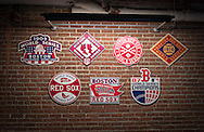 Boston Red Sox World Series championship plaques inside Fenway Park.