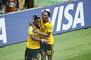 Michy Batshuayi of Belgium celebrates after scoring with Dedryck Boyata during the 2018 FIFA World Cup Russia, Group G football match between Belgium and Tunisia on June 23, 2018 at Spartak Stadium in Moscow, Russia - Photo Tarso Sarraf / FramePhoto / ProSportsImages / DPPI
