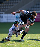 Rugby Union - 2020 / 2p021 Gallagher Premiership - Round 16 - Newcastle Flacons vs Bristol Bears - Kingston Park<br /> <br /> Greg Peterson of Newcastle Falcons is tackled by Jake Heenan of Bristol Bears<br /> <br /> Credit: COLORSPORT/BRUCE WHITE