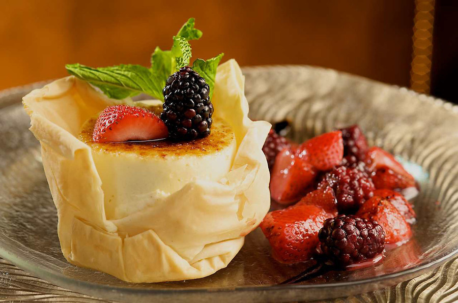 Montrachet brulee cheese cake with berry compote