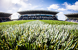 A close-up view of the new plastic pitch at The Falkirk Stadium, for the Scottish Championship game v Hamilton. The woven GreenFields MX synthetic turf and the surface has been specifically designed for football with 50mm tufts compared with the longer 65mm which has been used for mixed football and rugby uses.  It is fully FFA two star compliant and conforms to rules laid out by the SPL and SFL.<br /> ©Michael Schofield.