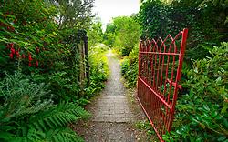 Walled Garden entrance at Achamore Gardens on Isle of Gigha, Kintyre peninsula, Argyll & Bute, Scotland, UK