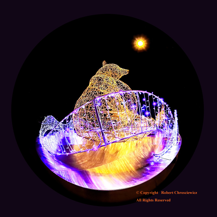 Davie the Bear: Davie the grizzly bear sits behind a fence of illuminated lights during Lumiere, Vancouver British Columbia Canada.