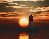 A lighthouse is meant to be a beacon for navigation. You can find a lighthouse along the coast anywhere in the world. In modern times, a lighthouse did lose some of its function due to more advanced technology; However, a lighthouse still retains its romantic function for many.<br /> This painting easily brings the atmosphere of the sea to your home. This coastal scene can be printed in different sizes and on different materials. Both on canvas, wood, metal or framed so it certainly fits into your interior. –<br /> -<br /> BUY THIS PRINT AT<br /> <br /> FINE ART AMERICA / PIXELS<br /> ENGLISH<br /> https://janke.pixels.com/featured/3-pierres-noires-lighthouse-with-a-sunset-jan-keteleer.html<br /> <br /> <br /> WADM / OH MY PRINTS<br /> DUTCH / FRENCH / GERMAN<br /> https://www.werkaandemuur.nl/nl/shopwerk/Vuurtoren-Pierre-Noires-met-een-zonsondergang-en-turbulente-Cirruswolken/782456/132?mediumId=15&size=70x55<br /> –<br /> -