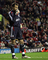 Photo: Paul Thomas.<br /> Liverpool v Arsenal. Carling Cup. 09/01/2007.<br /> <br /> Keeper Jerzy Dudek of Liverpool after their 6-3 loss. It this his last game for Liverpool..... ??