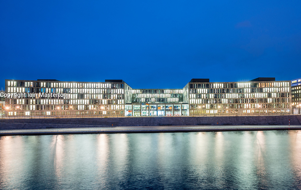 Exterior view at night of Federal Ministry of Education and Research in Berlin, Germany
