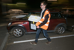 © Licensed to London News Pictures. 04/05/2017. Bristol, UK. Ballot boxes arrive at the Election Count at City Academy Bristol for the West of England Combined Authority Mayoral election 2017. The candidates are: Tim Bowles -Conservative Party; Aaron Warren Foot - UK Independence Party (UKIP); Darren Edward Hall - Green Party; Lesley Ann Mansell - Labour and Co-operative Party; John Christopher Savage - Independent; Stephen Williams - Liberal Democrats. Photo credit : Simon Chapman/LNP