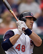 MORNING JOURNAL/DAVID RICHARD<br />Cleveland's Travis Hafner watches his 2-run homerun of Kansas City pitcher Jose Lima yesterday in the first inning at Jacobs Field. Hafner's blast got the Tribe rolling early in its 11-0 win over the Royals.