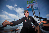 La Route des Princess. Plymouth. UK<br /> The Oman Air - Musandam MOD70 skipper Sidney Gavignet (FRA) pictured here in action during the second day of InPort racing close to the city centre.<br /> Credit: Lloyd Images