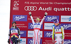 08.02.2011, Kandahar, Garmisch Partenkirchen, GER, FIS Alpin Ski WM 2011, GAP, Lady Super G, im Bild Winnerceremonie, v.l. zweite Julia MANCUSO (USA), Siegerin und Weltmeisterin Elisabeth GOERGL (AUT), dritte Maria RIESCH (GER) // f.l. second Place Julia MANCUSO (USA), Winner and World Champion Elisabeth GOERGL (AUT), third Place Maria RIESCH (GER) during Women Super G, Fis Alpine Ski World Championships in Garmisch Partenkirchen, Germany on 8/2/2011, 2011, EXPA Pictures © 2011, PhotoCredit: EXPA/ J. Feichter