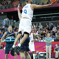 31 July 2012: Tony Parker of France goes for the layup during 71-64 Team France victory over Team Argentina, during the men's basketball preliminary, at the Basketball Arena, in London, Great Britain.