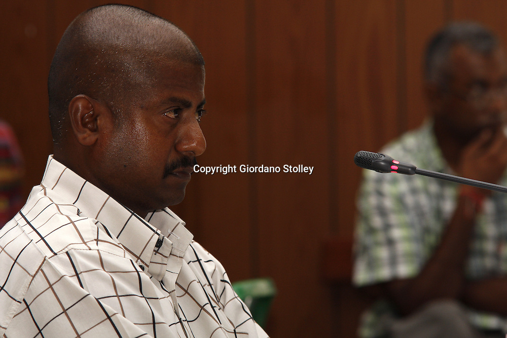 DURBAN - 12 February 2014 - Ronnie Pillay, a site foreman for Gralio Precast (Pty) Ltd gives evidence to a Department of Labour commission of inquiry established to probe the events that led to a Tongaat Mall collapsing, killing two people and injuring 29 on November 19, 2013. Pillay was working on the construction site on the day it collapsed. Picture: Allied Picture Press/APP