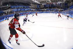 February 18, 2018 - Pyeongchang, KOREA - Switzerland forward Isabel Waidacher (24) in a hockey game between Switzerland and Korea during the Pyeongchang 2018 Olympic Winter Games at Kwandong Hockey Centre. Switzerland beat Korea 2-0. (Credit Image: © David McIntyre via ZUMA Wire)