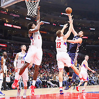 09 November 2015: Memphis Grizzlies center Marc Gasol (33) goes for the baby hook over Los Angeles Clippers forward Blake Griffin (32) and Los Angeles Clippers center DeAndre Jordan (6) during the Los Angeles Clippers 94-92 victory over the Memphis Grizzlies, at the Staples Center, in Los Angeles, California, USA.