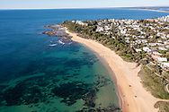 Aerial view of beautiful Shelly Beach without many people, Caloundra, Sunshine Coast, Queensland, Australia