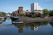 Waterways at Gas Street Basin as the Coronavirus lockdown continues, the city centre is still very quiet while more traffic and people are returning, and with restrictions due to be relaxed further in the coming days, the quiet city may be coming to an end as businesses are set to start to reopen soon on 27th May 2020 in Birmingham, England, United Kingdom. Coronavirus or Covid-19 is a respiratory illness that has not previously been seen in humans. While much or Europe has been placed into lockdown, the UK government has put in place more stringent rules as part of their long term strategy, and in particular social distancing.