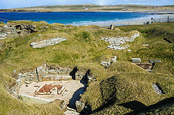 """Skara Brae is a stone-built Neolithic settlement, located on the Bay of Skaill on the west coast of Mainland, the largest island in the Orkney archipelago of Scotland. It consists of eight clustered houses, and was occupied from roughly 3180 BC to2500 BC. Europe's most complete Neolithic village, Skara Brae gained UNESCO World Heritage Site status as one of four sites making up """"The Heart of Neolithic Orkney.""""a Older than Stonehenge and the Great Pyramids, it has been called the """"Scottish Pompeii"""" because of its excellent preservation.<br /> <br /> (c) Andrew Wilson 