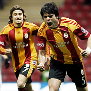Galatasaray's Gokhan ZAN (R) celebrate his goal during their Turkish Super League soccer match Galatasaray between Kayserispor at the TT Arena at Seyrantepe in Istanbul Turkey on Saturday, 23 April 2011. Photo by TURKPIX
