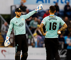 Surrey's Ben Foakes with team-mate Jade Dernbach<br /> <br /> Photographer Simon King/Replay Images<br /> <br /> Vitality Blast T20 - Round 14 - Glamorgan v Surrey - Friday 17th August 2018 - Sophia Gardens - Cardiff<br /> <br /> World Copyright © Replay Images . All rights reserved. info@replayimages.co.uk - http://replayimages.co.uk