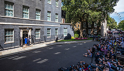 © Licensed to London News Pictures. 24/07/2019. London, UK. Prime Minister Theresa May and her husband Philip May wave as she leaves Downing Street. Boris Johnson will become the next Prime Minister this afternoon. Photo credit: Rob Pinney/LNP