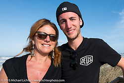 Paola Somma, owner of the Motor Bike Expo Verona (Italy) with her son Federico Agnoletto at the Boardwalk Classic Bike Show during Daytona Beach Bike Week. Daytona Beach, FL, USA. March 13, 2015.  Photography ©2015 Michael Lichter.