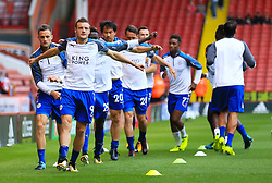 Leicester City's Jamie Vardy and team mates warm up prior to the Carabao Cup, Second Round match at Bramall Lane, Sheffield.