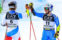 16.02.2021, Cortina, ITA, FIS Weltmeisterschaften Ski Alpin, Parallel Event, Herren, im Bild Marco Odermatt (SUI), Luca De Aliprandini (ITA) // Marco Odermatt of Switzerland Luca De Aliprandini of Italy during the mens Parallel Event of FIS Alpine Ski World Championships 2021 in Cortina, Italy on 2021/02/16. EXPA Pictures © 2021, PhotoCredit: EXPA/ Erich Spiess