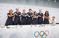 LAUSANNE, July 11, 2017  French President Emmanuel Macron (3rd L), Paris 2024 Olympic bid co-president Tony Estanguet (4th L) attend a press conference after the presentation of the Paris 2024 Candidate City Briefing for International Olympic Committee (IOC) members at the SwissTech Convention Centre, in Lausanne, Switzerland, July 11, 2017. (Credit Image: © Xu Jinquan/Xinhua via ZUMA Wire)