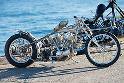 """Ryan Grossman's 1948 HD Panhead known as Dean """"The Dean"""" Lanza's Quicksilver dual-carbed Panhead """"Show Dragster"""" at the local docks before the Mooneyes Yokohama Hot Rod & Custom Show. Yokohama, Japan. December 5, 2015.  Photography ©2015 Michael Lichter."""