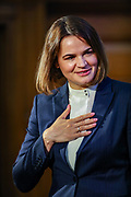 Sviatlana Tsikhanouskaya, opposition leader of Belarus gestures as she met with her supporters at One Great George Street in London on Tuesday, Aug 3, 2021 - following a meeting with Britain's PM Boris Johnson. Tsikhanouskaya, who challenged Belarusian President Alexander Lukashenko's re-election last year, was forced to leave the country shortly after the vote in August. (VX Photo/ Vudi Xhymshiti)
