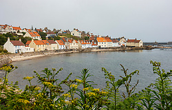 View of old houses at Pittenweem village in the East Neuk of Fife in Scotland, UK