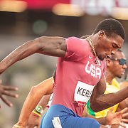 TOKYO, JAPAN August 1:  Fred Kerley of the United States in action in the 100m semi final for men during the Track and Field competition at the Olympic Stadium  at the Tokyo 2020 Summer Olympic Games on July 31, 2021 in Tokyo, Japan. (Photo by Tim Clayton/Corbis via Getty Images)