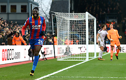 Crystal Palace's Bakary Sako celebrates scoring his side's first goal of the game during the Premier League match at Selhurst Park, London.