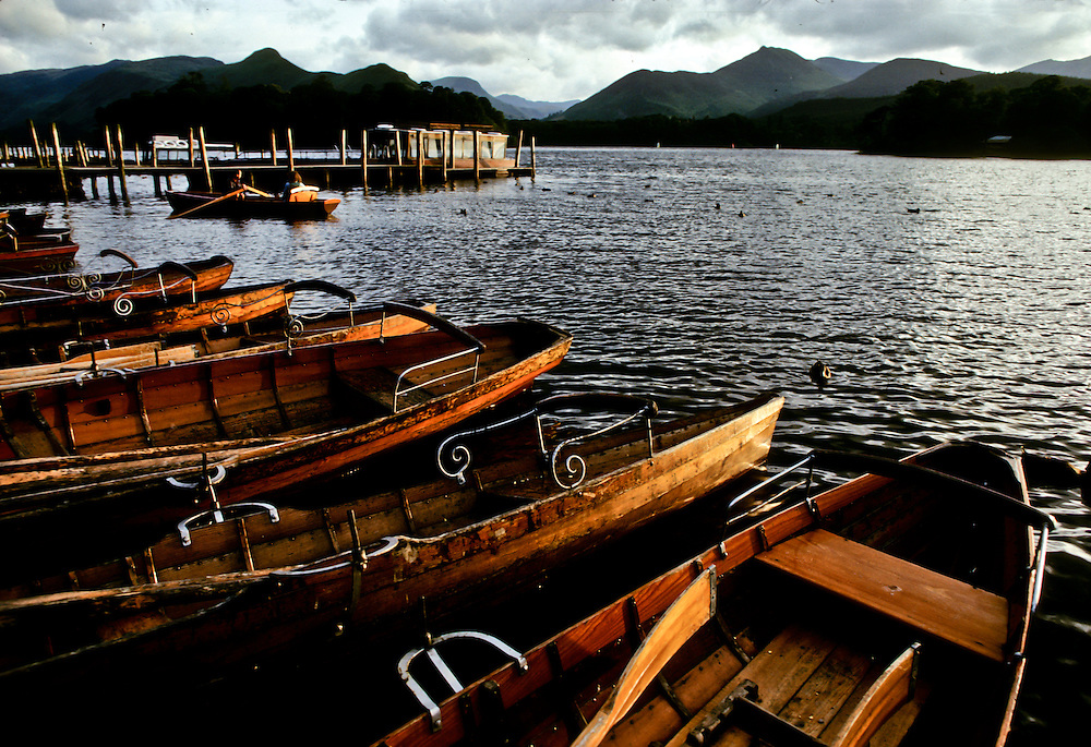 Wooden boats along a lake in Northern England.