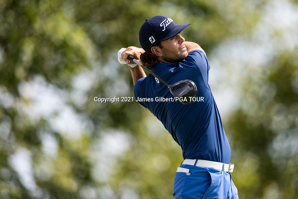 NEWBURGH, IN - SEPTEMBER 03: Callum Tarren of England plays his shot from the 18th tee during the second round of the Korn Ferry Tour Championship presented by United Leasing and Financing at Victoria National Golf Club on September 3, 2021 in Newburgh, Indiana. (Photo by James Gilbert/PGA TOUR via Getty Images)