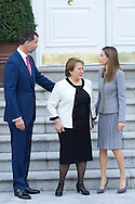 Michelle Bachelet, King Felipe VI of Spain and Queen Letizia of Spain posed for photographers during a Chilean President State Visit at Zarzuela Palace on October 29, 2014 in Madrid