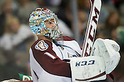 DALLAS, TX - NOVEMBER 1:  Semyon Varlamov #1 of the Colorado Avalanche looks on during a break against the Dallas Stars on November 1, 2013 at the American Airlines Center in Dallas, Texas.  (Photo by Cooper Neill/Getty Images) *** Local Caption *** Semyon Varlamov