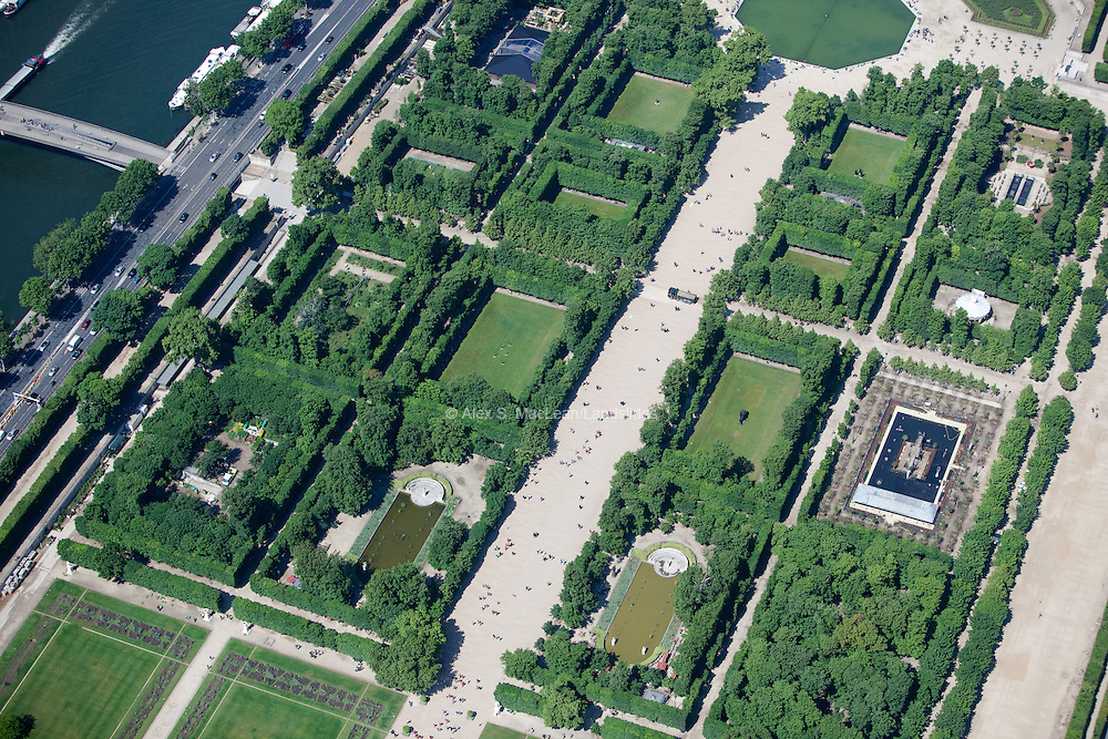 The Tuileries Gardens in front of the Louvre Museum.