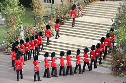 Troops from the Household Division on the steps of St George's Chapel in Windsor Castle during the wedding of Princess Eugenie and Jack Brooksbank.