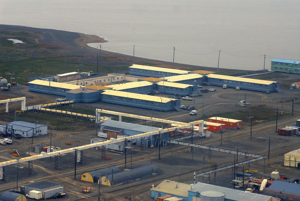 Alaska, Barrow. Aerial view of Ilisagvik College, old NARL (Navy Arctic Research Laboratory). July 2007