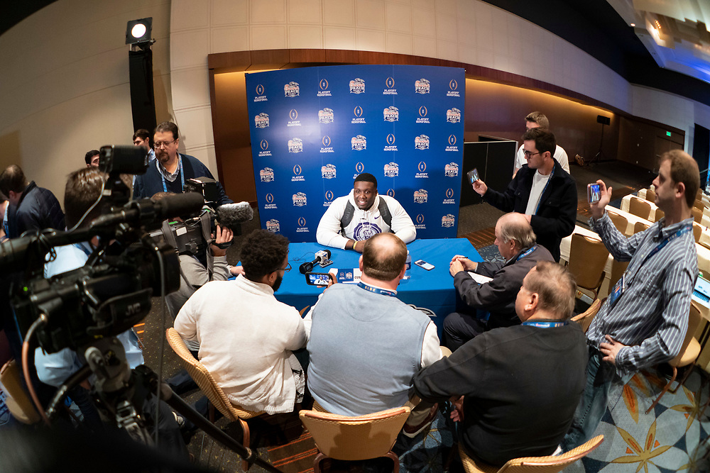 LSU's Lloyd Cushenberry III meets with the media, Monday, Dec. 23, 2019, in Atlanta. LSU will face Oklahoma in the 2019 College Football Playoff Semifinal at the Chick-fil-A Peach Bowl. (Paul Abell via Abell Images for the Chick-fil-A Peach Bowl)