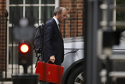 © Licensed to London News Pictures. 31/08/2021. London, UK. Foreign secretary Dominic raab arrives at Downing Street. The government is still facing criticism for it's handling of the withrawal from Kabul. Photo credit: Peter Macdiarmid/LNP