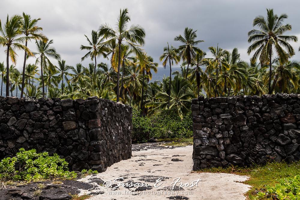Stone wall at place of refuge, Big Island Hawaii.