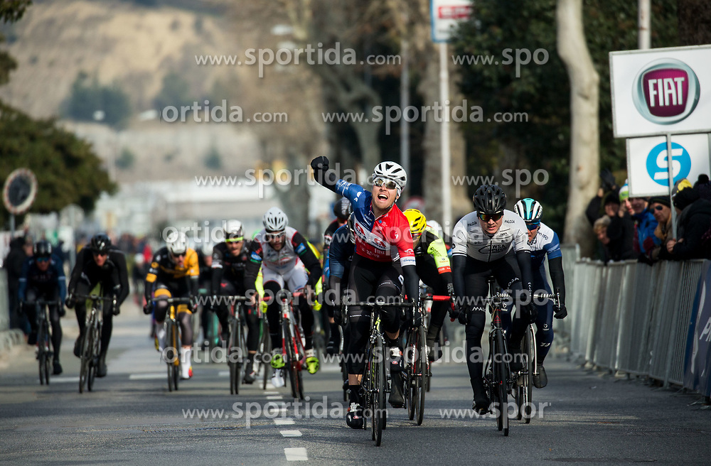 Winner Dusan Rajovic of Adria Mobil celebrates at finish line during cycling race 5. VN Slovenske Istre / 5th Slovenian Istra Grand Prix, on February 25, 2018 in Izola/ Isola, Slovenia. Photo by Vid Ponikvar / Sportida