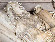 Memorial life-size monument by Nicholas Stone for Elizabeth Coke and infant daughter, church of Saint Andrew, Bramfield, Suffolk, England, UK who died 1627 in childbirth