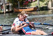 Henley-on-Thames. United Kingdom.  2017 Henley Royal Regatta, Henley Reach, River Thames. <br /> Prince Albert Challenge Cup: Newcastle University, celebrate victory over Imperial College London.<br /> <br /> 11:39:47  Sunday  02/07/2017<br /> <br /> [Mandatory Credit. Intersport Images}.
